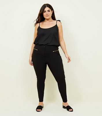 Curves Black Zip Pocket Stretch Tapered Trousers