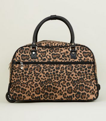 Brown Leopard Print Two Wheel Holdall