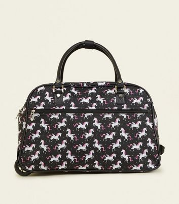 Black Unicorn Print 2 Wheel Holdall