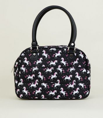 Black Unicorn Print Cabin Bag