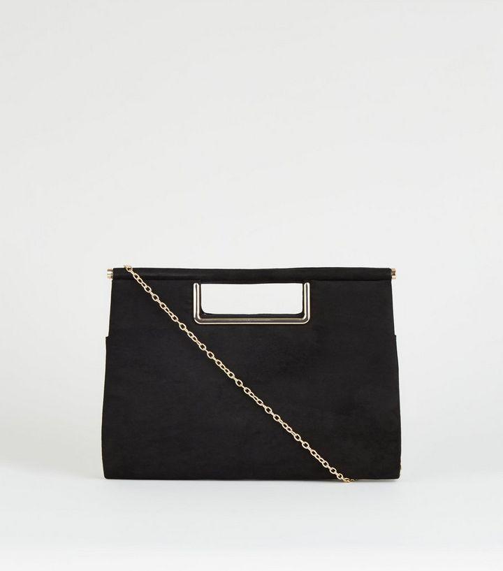f57ffe0dc5 Black Metal Handle Clutch Bag | New Look