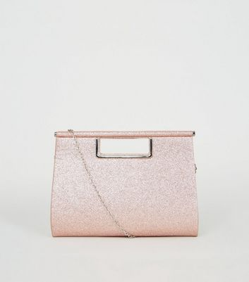Rose Gold Glitter Metal Handle Clutch