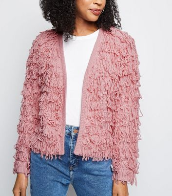 Mid Pink Loop Knit Cardigan