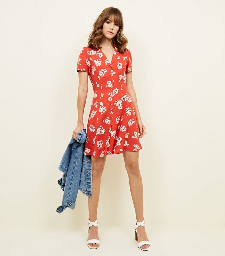 079980b1bbd6c Red Floral Print Collar Tea Dress Add to Saved Items Remove from Saved Items
