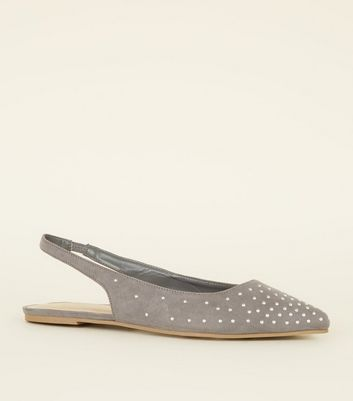 Grey Suedette Studded Slingback Mules