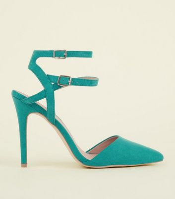 Wide Fit Green Suedette Double Ankle Strap Stilettos