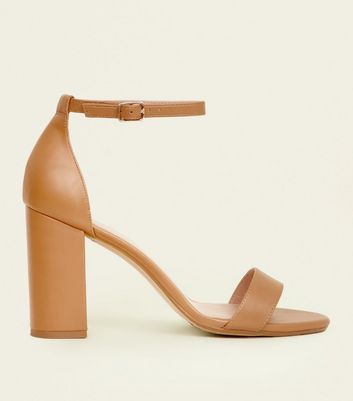 Wide Fit Camel Leather-Look Block Heels