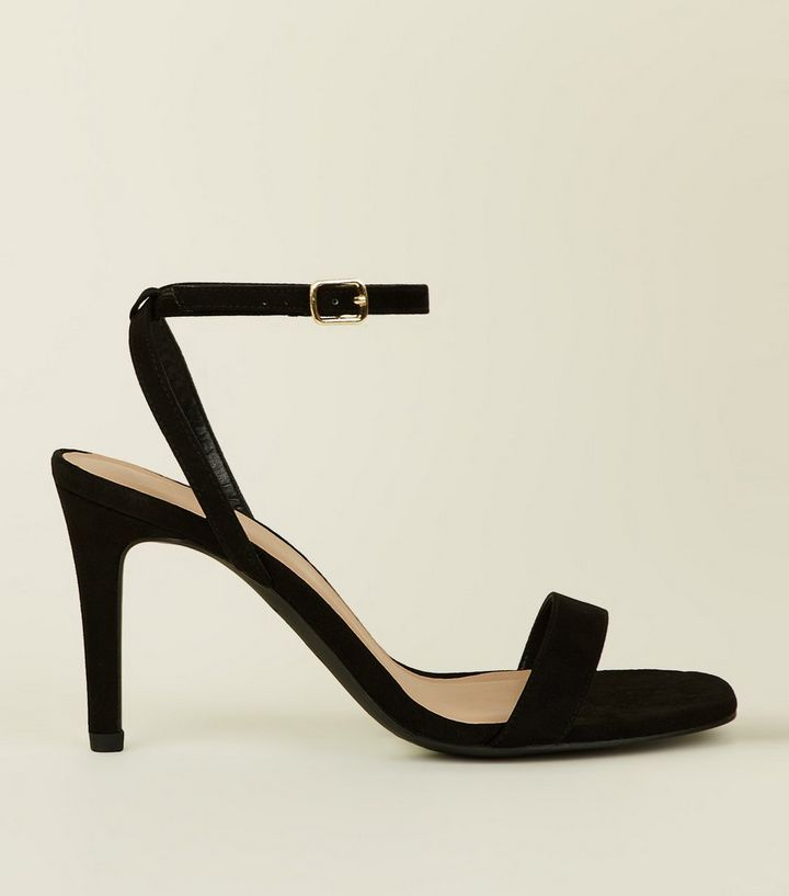 ef446a3fa3 Wide Fit Black Suedette Strappy Square Toe Heels | New Look