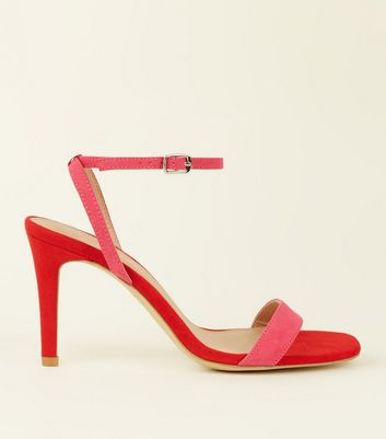 Wide Fit Pink and Red Suedette Strappy Square Toe Heels