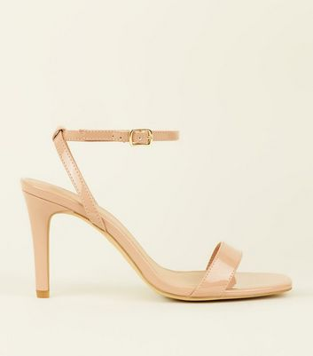 Wide Fit Nude Patent Square Toe Heels