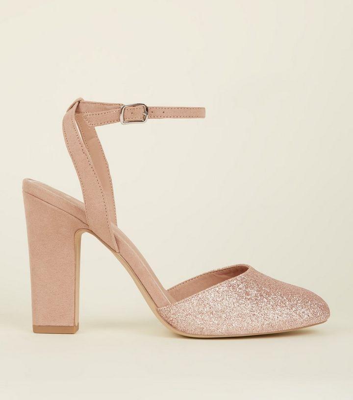 245ee5edcd8 Wide Fit Rose Gold Round Toe Block Heels