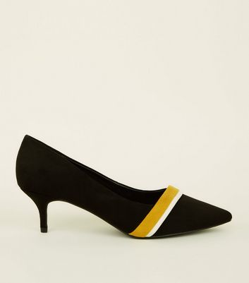Wide Fit Black Suedette Kitten Heel Courts