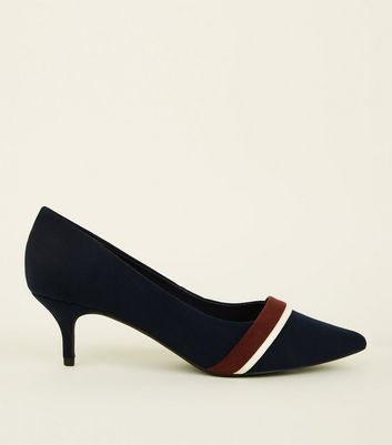 Wide Fit Navy Suedette Kitten Heel Courts by New Look