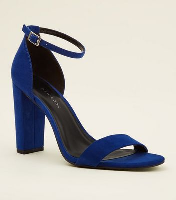 Wide Fit Bright Blue Suedette Ankle Strap Block Heels