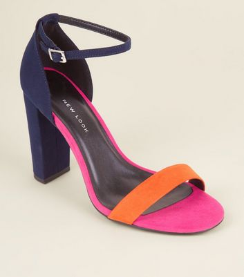 Wide Fit Navy Colour Block Ankle Strap Block Heels