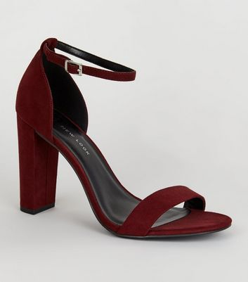 Wide Fit Dark Red Suedette Block Heels