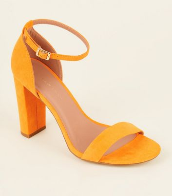 Wide Fit Orange Suedette Ankle Strap Block Heels