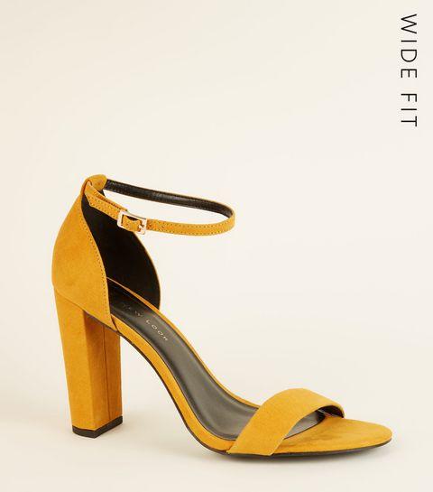 6a04a4fcf0c5 ... Wide Fit Mustard Suedette Ankle Strap Block Heels ...