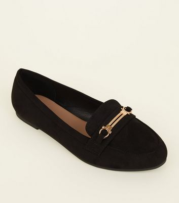 Wide Fit Black Suedette Bar Trim Loafers