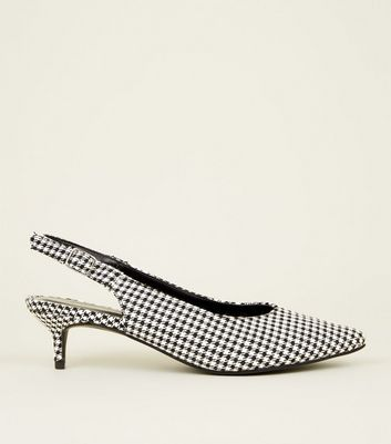 Black Houndstooth Check Slingback Kitten Heels