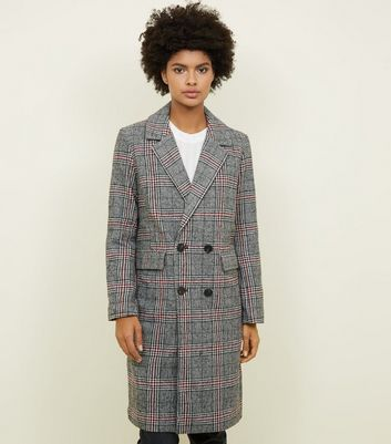 Blue Vanilla Grey Brushed Check Longline Coat