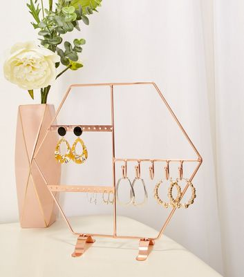 Rose Gold Hexagonal Jewellery Stand