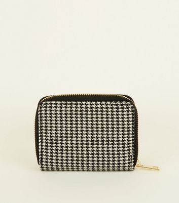 Black Houndstooth Zip Around Card Holder