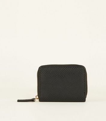 Black Faux Snake Zip Around Card Holder