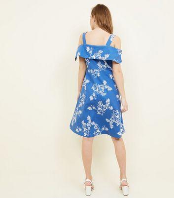 Apricot Blue Leaf Print Cold Shoulder Dress New Look