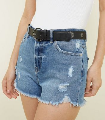 Black Leather Look Studded Eyelet Hip Belt Add to Saved Items Remove from Saved Items