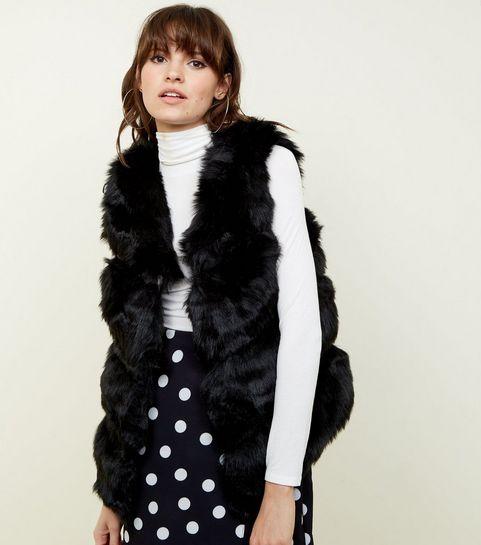 f1590c172688 ... Black Pelted Faux Fur Gilet ...