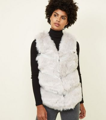 Pale Grey Pelted Faux Fur Gilet