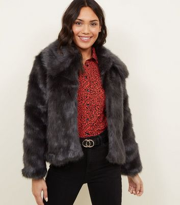 Dark Grey Collared Faux Fur Jacket