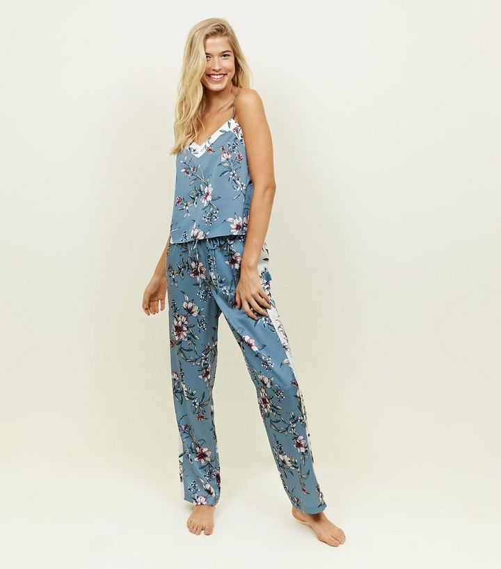 c08b6df091 Nicola Blue Floral Satin Pyjama Trousers