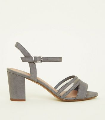 Girls Grey Mesh Block Heel Sandals