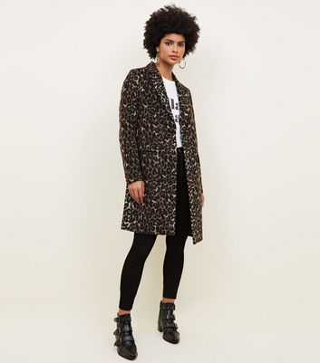 Brown Leopard Print Longline Coat