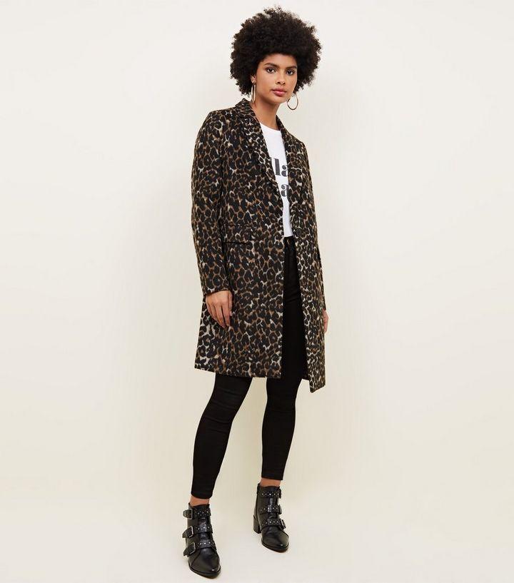 7d49d8708df Brown Leopard Print Longline Coat