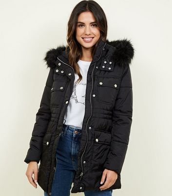 Black Ski Puffer Detachable Faux Fur Coat