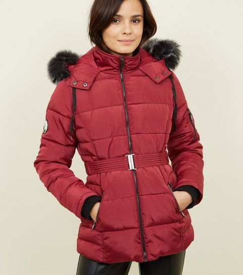 a94e411c2ec ... Burgundy Faux Fur Hood Belted Puffer Jacket ...