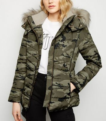 Green Camo Faux Fur Trim Puffer Jacket