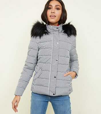 Black Gingham Faux Fur Hooded Puffer Jacket
