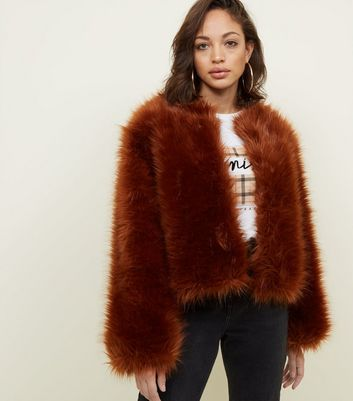 Rust Fax Fur Cropped Collarless Jacket