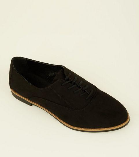 9492d6015fbf ... Black Suedette Lace Up Shoes ...