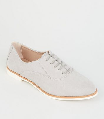 Grey Suedette Lace Up Shoes
