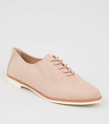 Pink Suedette Lace Up Shoes