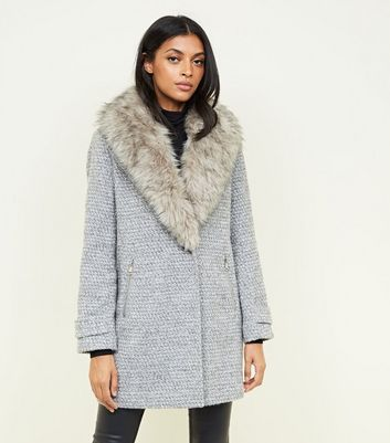 Grey Shawl Faux Fur Collar Coat