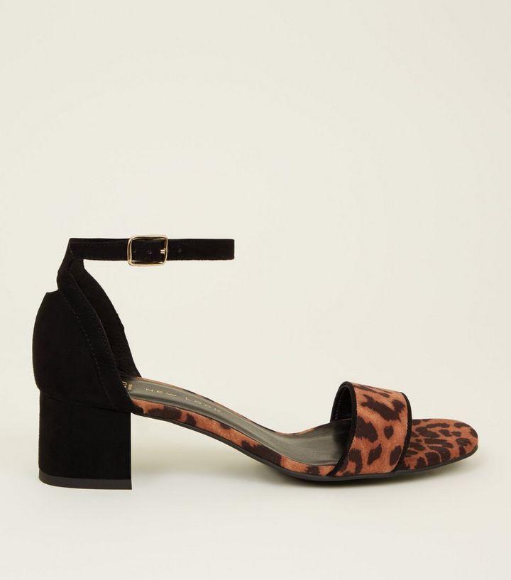 23fc815f04ed Girls Stone Leopard Print Contrast Block Heel Sandals | New Look