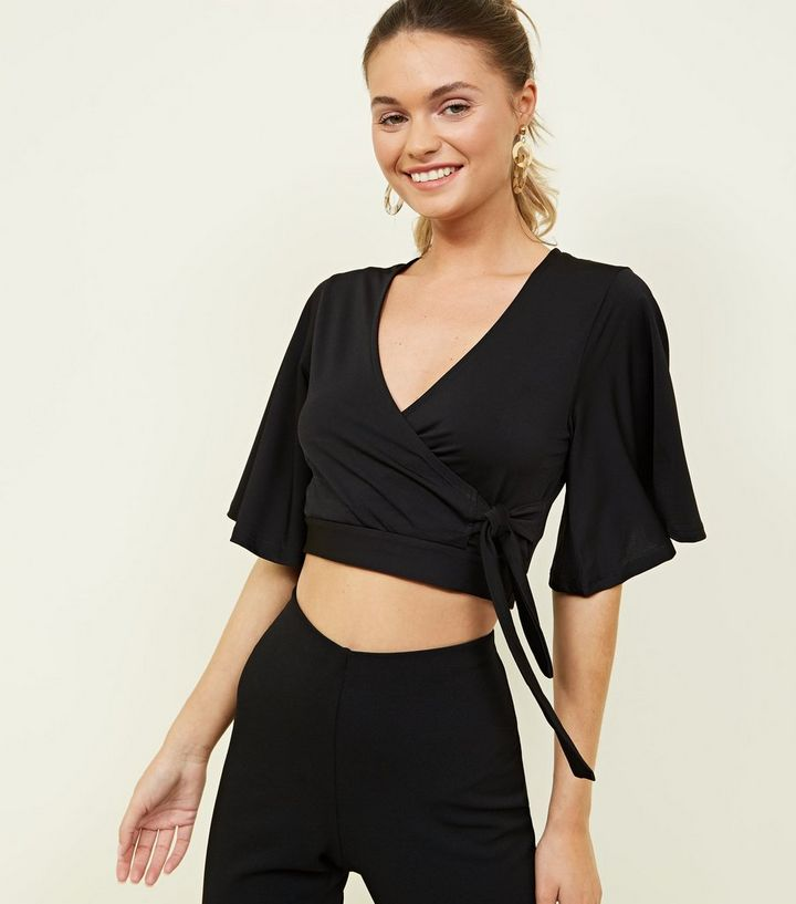 77f74c2ab9a2 Black Wrap Front Flutter Sleeve Crop Top | New Look