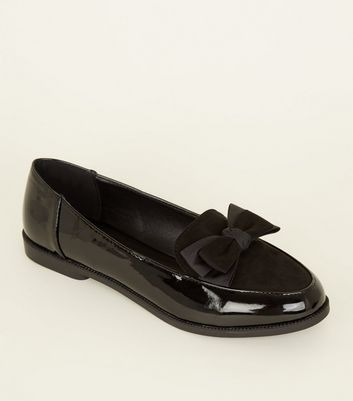 Black Patent And Suedette Bow Front Loafers by New Look