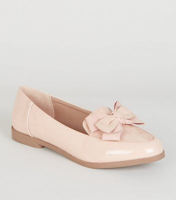 Pink Patent and Suedette Bow Front Loafers